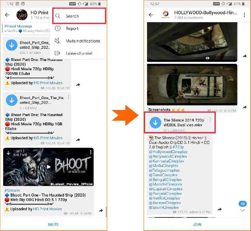 telegram movie download