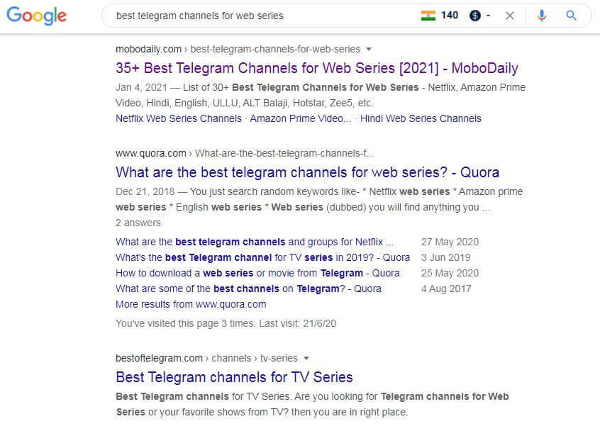Google Search Result - Best Telegram Channels for Movies